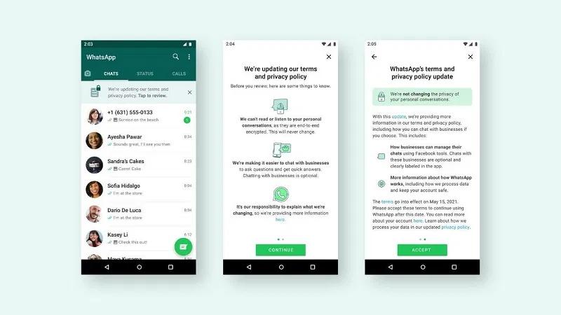 Whatsapp TOC change notification